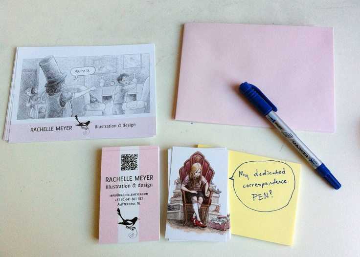 What a package: organization and talent! A QR code AND a pen just for postcards!