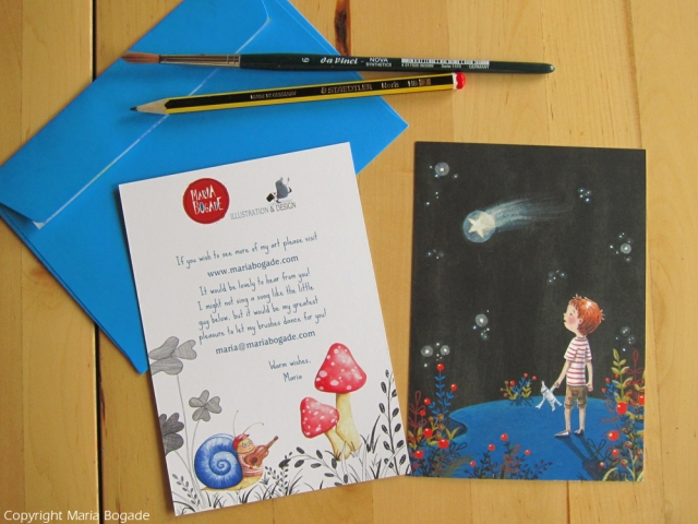 Beautiful promotion piece: now we see the back with more color art and a note. And a matching envelope!