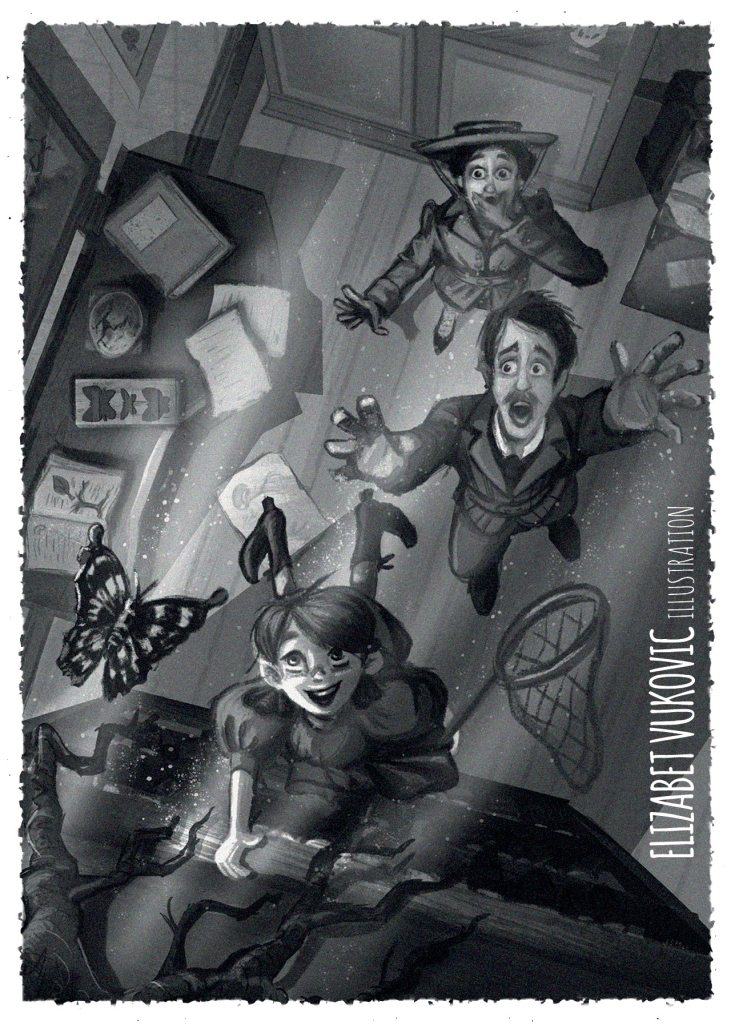 Greyscale postcard for middle grade novels promotion.