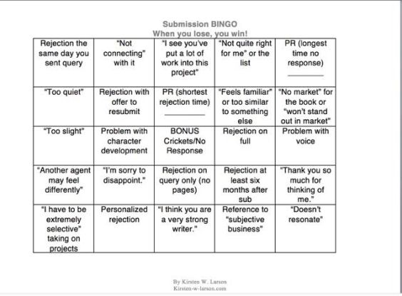 Kirsten Rejection Bingo